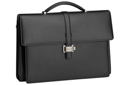 Black finish - Double Gusset Briefcase - #114679 shown