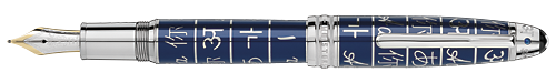 Platinum Coated/Blue Lacquer finish - Solitaire LeGrand Fountain Pen (Reg: $1,695) shown