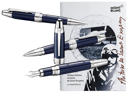 Montblanc Limited Editions - Antoine Saint-Exupéry Writers Edition - Year: 2017 - Midnight Blue (Reg: $2445) - Edition: 800 Sets - Set-Fountain Pen, Ball Pen & 0.7mm Pencil