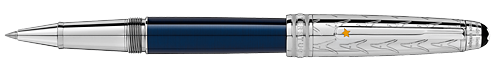 Deep Blue Resin/Platinum Coated Cap (Reg:$890) finish - Solitaire Doue  Classique Rollerball shown