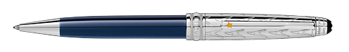Deep Blue Resin/Platinum Coated Cap (Reg:$770) finish - Solitaire Doue Classique Ball Pen shown
