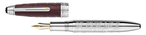 Solitaire Brown Leather/Platinum Coating finish - LeGrand Fountain Pen(Reg: $1760) shown