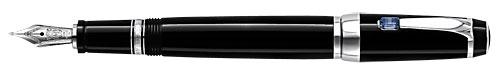 Montblanc - Bohème - Precious Resin - Black & Platinum with Sapphire Retractable Fountain Pen #25130  (Reg: $715)