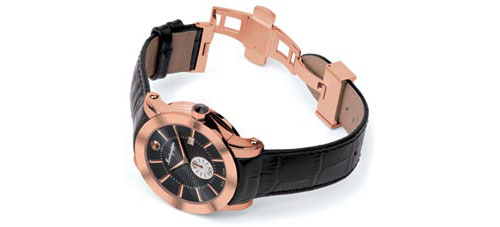 5N (Rose Gold) PVD - Black Dial finish - Montegrappa NeroUno Watch shown