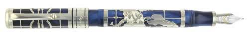 Montegrappa Limited Editions - Euro - Year: 2002 - Sterling Silver / Blue - Edition: 1500 Fountain Pens - Fountain Pen