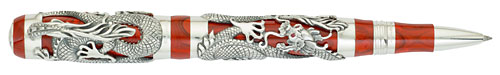 Montegrappa Limited Editions - Bruce Lee - Year: 2011 - Red Celluloid/Sterling Silver - Edition: 888 Rollerballs - Rollerball (List Price: $4675)