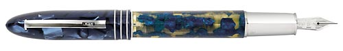 Omas Limited Editions - 360 Lucens - Year: 2006  - Blue Translucent Celluloid/Sterling Silver  Grip Section & Trim - Edition: 500 pens - 360 Fountain Pen