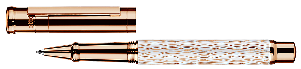 White Wave & Rose Gold    finish - Rollerball shown