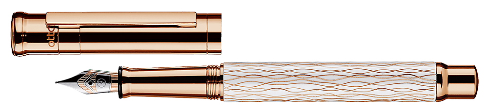 White Wave & Rose Gold finish - Fountain Pen shown