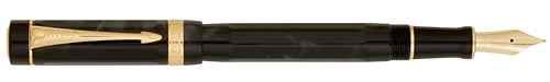 Parker Limited Editions - Duofold Lucky 8 - Year: 2008 - 8-Sided/Black-Smoke Grey Ripple - Edition: 3,888 Pens - Fountain Pen