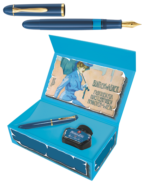 Blue  finish - Fountain Pen & Ink Set shown