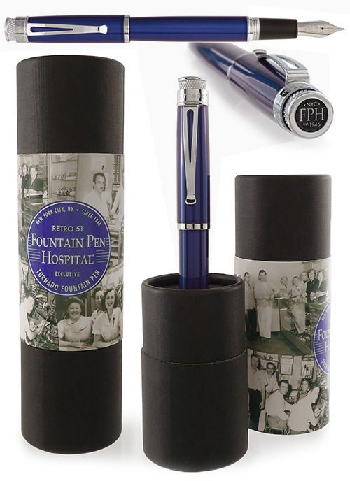 Retro 51 Limited Editions - Tornado True Blue Fountain Pen Hospital Exclusive - Year: 2018 - Edition: 100 Fountain Pens