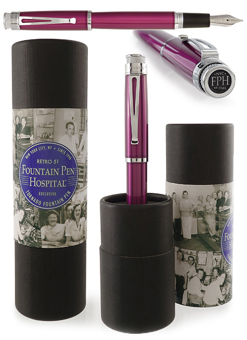 Retro 51 Limited Editions - Tornado Deep Purple Fountain Pen Hospital Exclusive - Year: 2018 - Edition: 100 Fountain Pens - Fountain Pen (SOLD OUT)