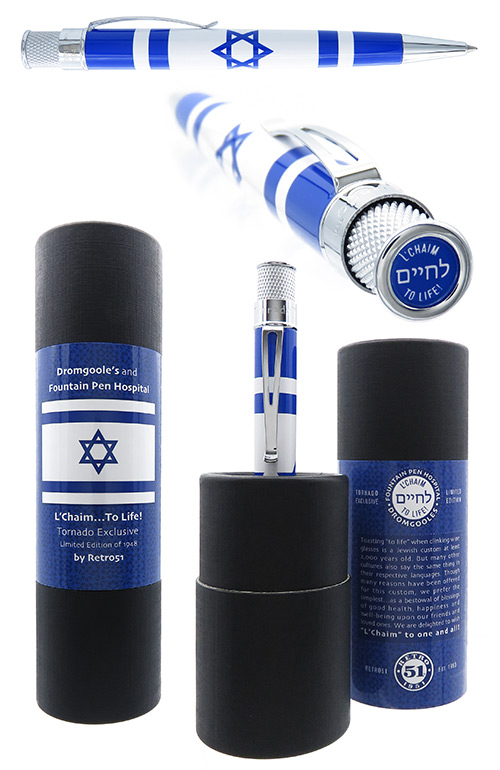 Retro 51 Limited Editions - Tornado L'Chaim  To Life!  - Year: 2019 - Israel Flag   (2 for $55 will be dedicted when billed) - Edition: 1948 Pens - Rollerball