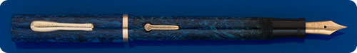 Conklin Jr. Endura Style - Unusual Blue On Blue Marble - Lever Fill - Gold Filled Trim