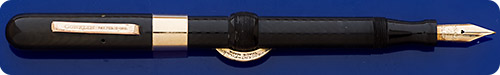 Conklin #4NL - Black Chased Hard Rubber - Crescent Fill - Gold Filled Trim  - Scarce Clip Version