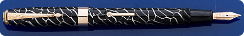 Conway Stewart #27 - Cracked Ice Design - Black With Silver Streaks - Lever Fill - Gold Filled Trim
