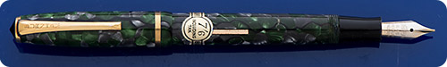 Burnham - Green And Gray Marble - Lever Fill - Gold Filled Trim - Original Price Sticker