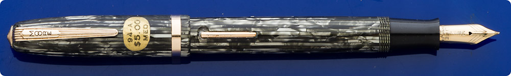 Moore #94 Fountain Pen - Grayish Green Stripes - Gold Filled Trim - Lever Fill
