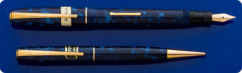 Mabie Todd Blackbird Set - Blue Marble - Lever Fill - Gold Filled Trim - Original Box And Sticker