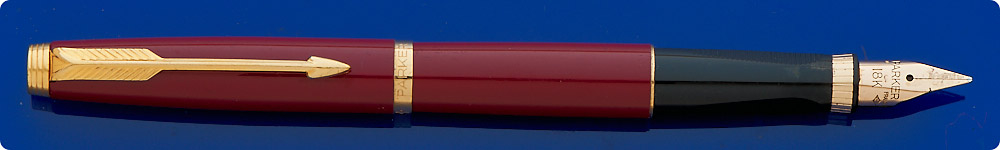 Parker #75 Fountain Pen - Burgundy Lacquer  - Gold Plated Trim - Made In France - Cartridge/Converter Fill - Converter Included