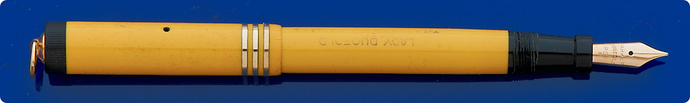 Parker Lady Duofold Mandarin Yellow - Ring Top - Gold-filled Trim - Some Wear To Barrel Imprint - Button Fill