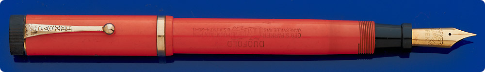 Parker Sr. Duofold - Red Hard Rubber - Gold Filled Trim - Perfect Imprints - Medium Duofold Imprint -Button Fill