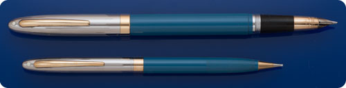 Sheaffer Snorkel Set - Pastel Blue Barrels - Chrome Caps - Snorkel Fill - Original Box And Papers