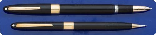 Sheaffer Valiant Set - Black - Gold Filled Trim - Snorkel Fill - Original Box