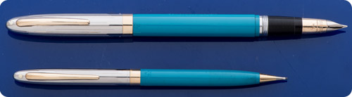 Sheaffer Lifetime Valiant Set - Pastel Blue.Barrels - Chrome Caps - Snorkel Fill -  Rare Color