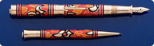 Sheaffer #2 Size Self Filling Set - Hand Painted - Gold Filled Trim - Lever Fill - Super Rare And Desirable