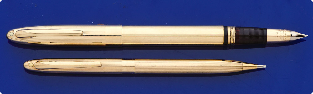 Sheaffer  Lifetime Set - Gold Filled Touchdown Filler - Pencil To Match