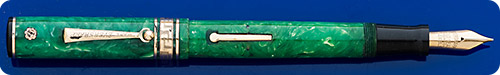 Wahl Eversharp Gold Seal - Deco Band - Jade Green - Gold Filled Trim - Lever Fill - Great Color