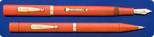 Waterman #55  - Red Hard Rubber Set With Matching Pencil (not Shown)- Lever Fill - Gold Filled Trim