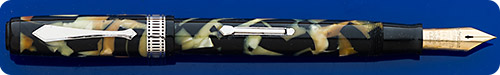 Waterman Patrician - Nacre - Black And Pearl - Chrome Trim - Lever Fill - Great Color And Imprints