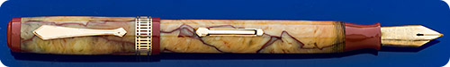 Waterman Patrician - Onyx - Cream And Red - Gold Filled Trim - Lever Fill - Great Color