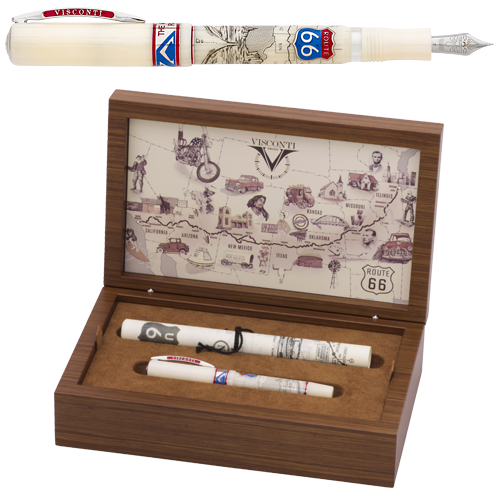 Visconti Limited Editions - Route 66 - Year: 2017 - Scrimshaw/Sterling Silver/Enamel - Edition: 366 Fountain Pens & Rollerballs Combined - Fountain Pen
