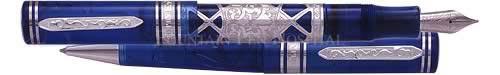 Visconti Limited Editions - Empire - Year: 2000 - Imperial Blue/Platinum Plating - Edition: 500-Platinum Nib - Fountain Pen & Ball Set