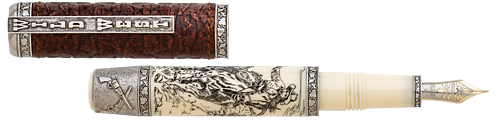 Visconti Limited Editions - Wild West - Year: 2016 - Sterling Silver, Leather & Scrimshaw  - Edition: 388 Fountain Pens - Fountain Pen
