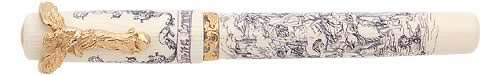 Visconti Limited Editions - Divine Comedy - Year: 2002 - Cream Celluloid/Scrimshaw - 18 Kt Gold Nib - Edition: 388 Fountain Pens - Fountain Pen